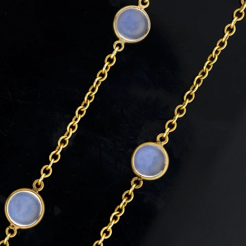 Retro 14kt Blue Moonstone Link Chain Necklace 40""