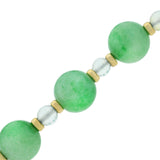 Art Deco Long 14kt Jade + Moonstone Bead Necklace 50.5