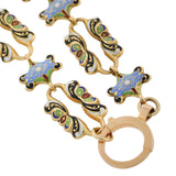 Victorian 18kt Swiss Enamel Fancy Open Link Chain Necklace 20