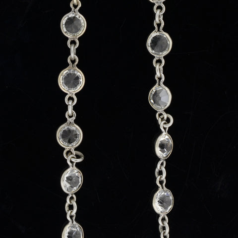 Art Deco Silver + French Paste Chain Necklace 62""