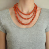 Vintage Long Graduated Branch Coral Bead Necklace 61.25