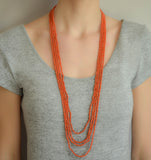 Victorian Sterling Natural Coral Four-Strand Bead Necklace 35.5