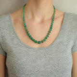 Art Deco Chrysoprase + Rock Crystal Bead Necklace 22