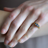 Victorian English 18kt Sapphire + Diamond Ring