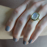 Art Nouveau Style 18kt Enameled Moonstone Ring