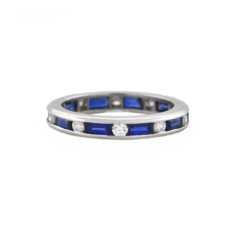 OSCAR HEYMAN Estate Platinum Sapphire Baguette + Diamond Eternity Band