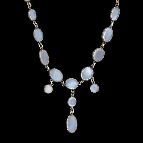 Victorian Sterling Silver Moonstone Festoon Necklace 16.25""