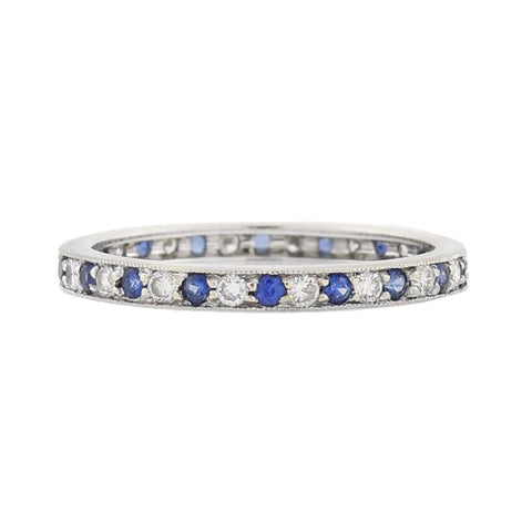 Estate 18kt Sapphire + Diamond Eternity Band