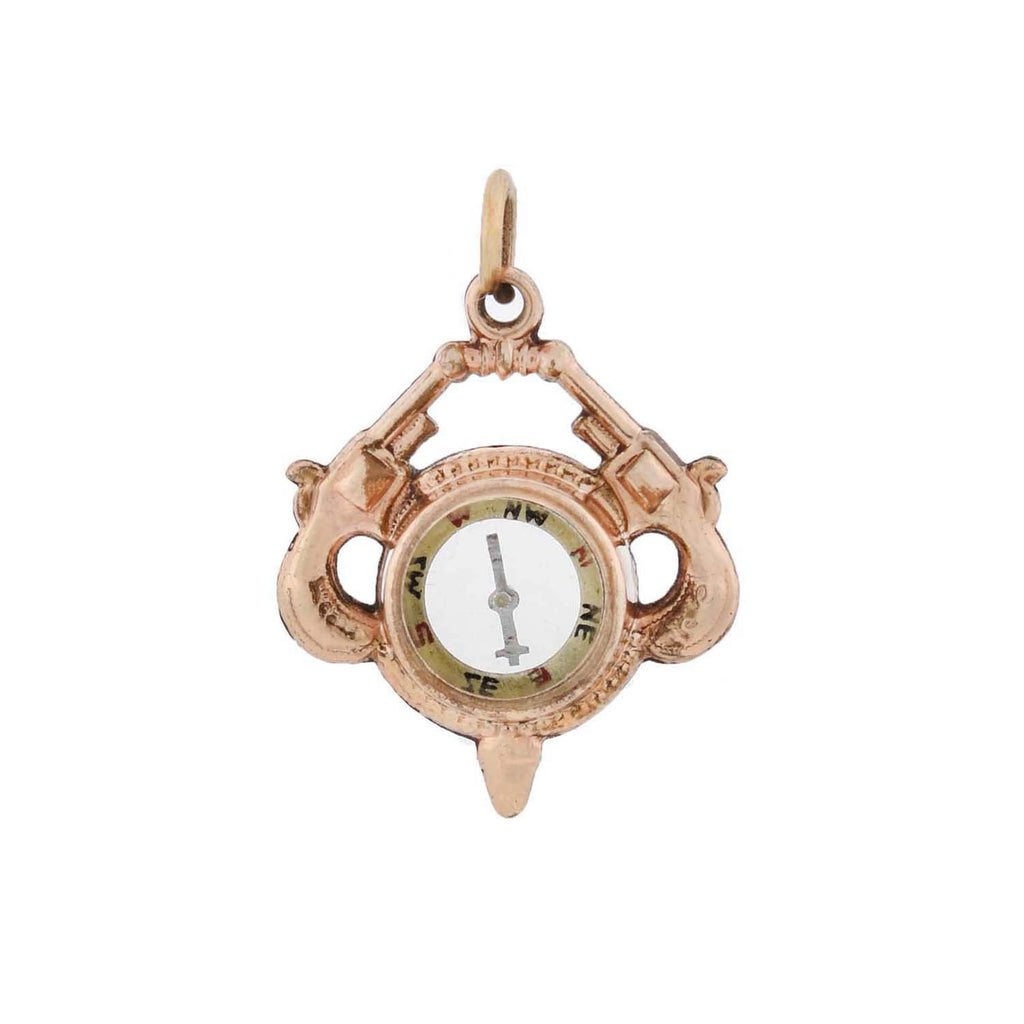 Victorian Double-Sided Compass + Revolver Fob Pendant
