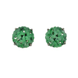 Late Art Deco Silver Carved Jade Plaque Stud Earrings