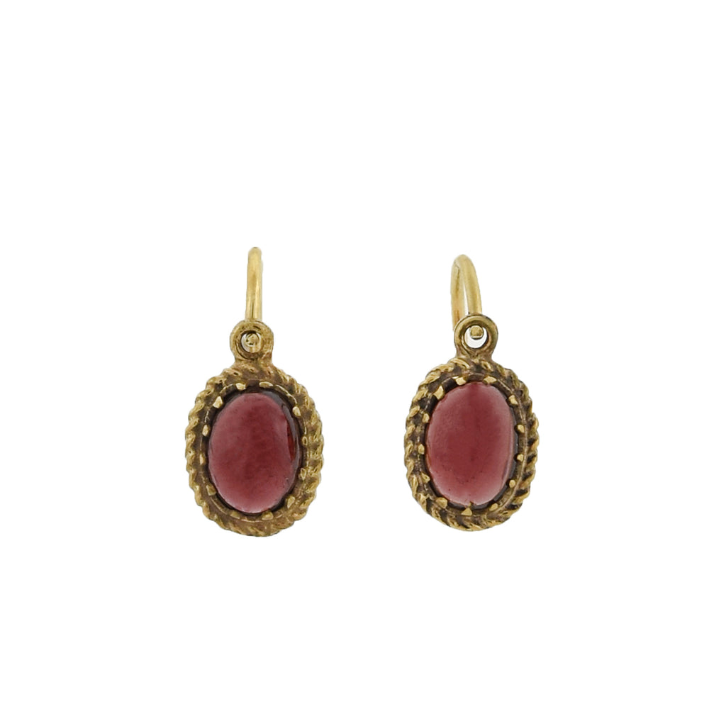 Victorian Petite Gilded Sterling Garnet Drop Earrings