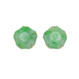 Retro 14kt Carved Jade Flower Motif Stud Earrings