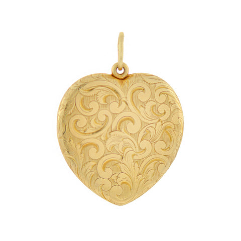 Victorian 14kt Etched Double-Sided Heart Locket