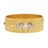 Victorian 15kt 3-Stone Diamond Enameled Cherubs Bangle Bracelet 1.35ctw