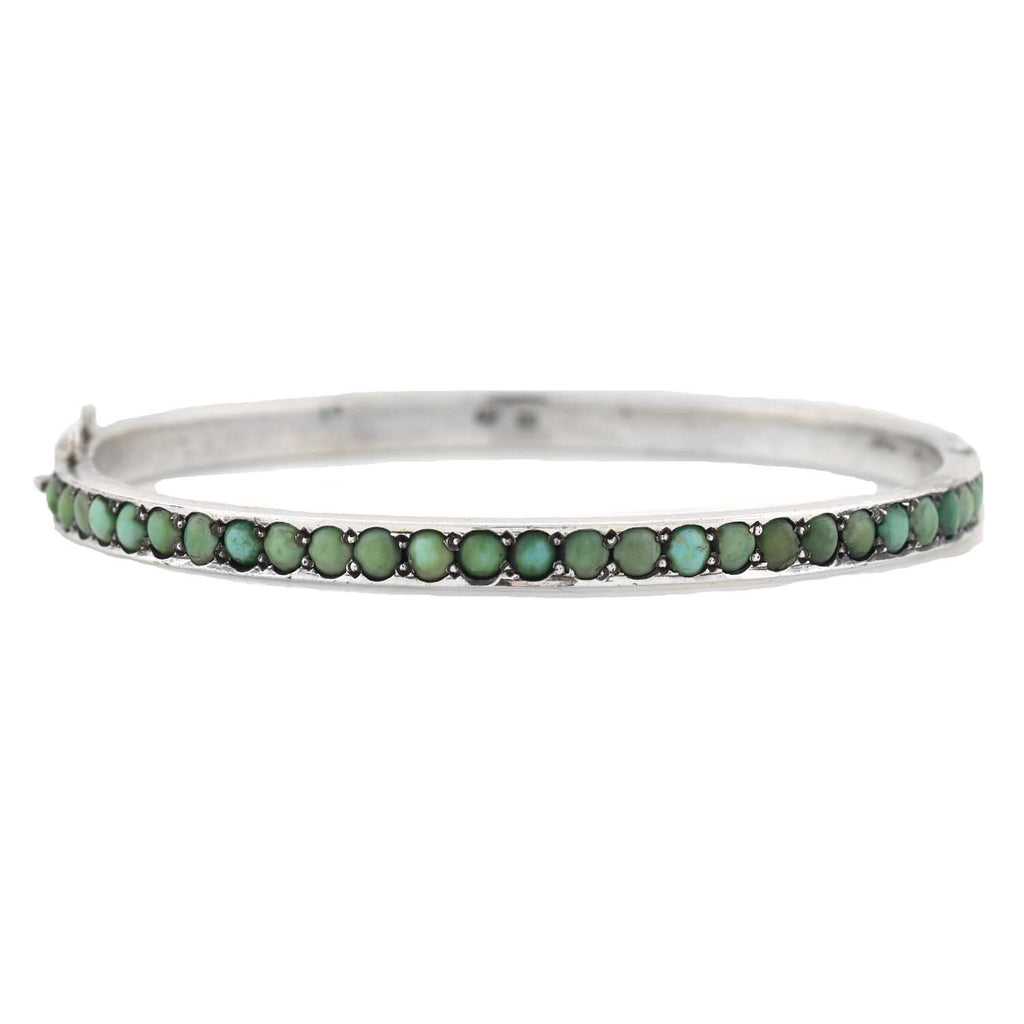 Victorian Austro-Hungarian Silver Turquoise Bangle Bracelet