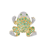 Vintage 14kt Mixed Metals Diamond + Emerald Frog Pendant
