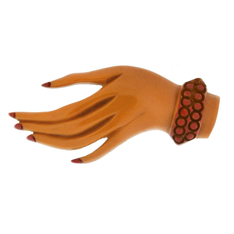 Retro Hand Carved + Painted Butterscotch Bakelite Hand Pin