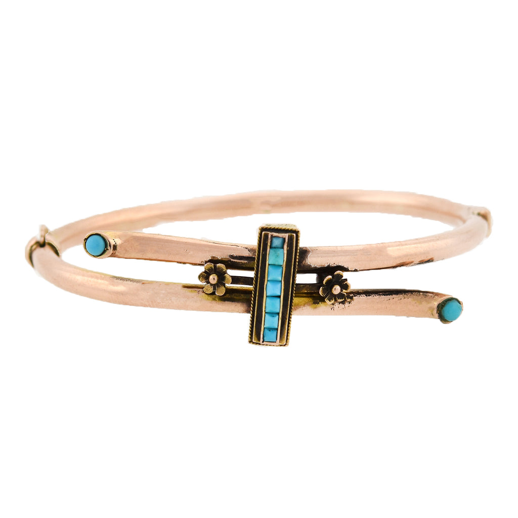 Victorian 14kt French Cut Persian Turquoise Bypass Bangle Bracelet