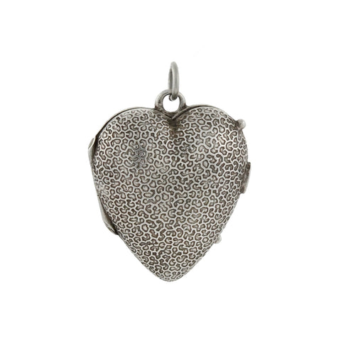 Victorian Sterling Silver Textured Puffy Heart Locket
