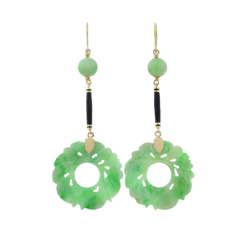 Late Art Deco 14kt Hand Carved Jade Earrings