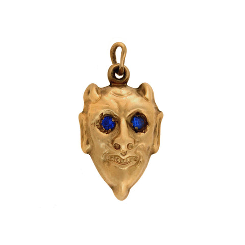 Late Victorian 14kt Blue Crystal Devil Charm Pendant