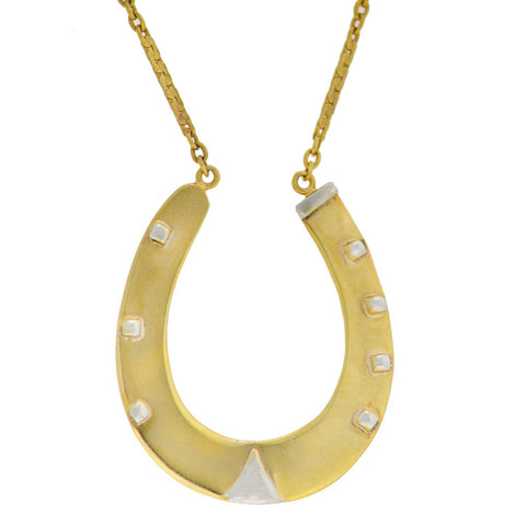 Victorian English Gold-Plated Lucky Horseshoe Pendant Necklace 23""