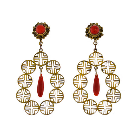 Art Deco Chinese Sterling Gilt Natural Coral Dramatic Earrings
