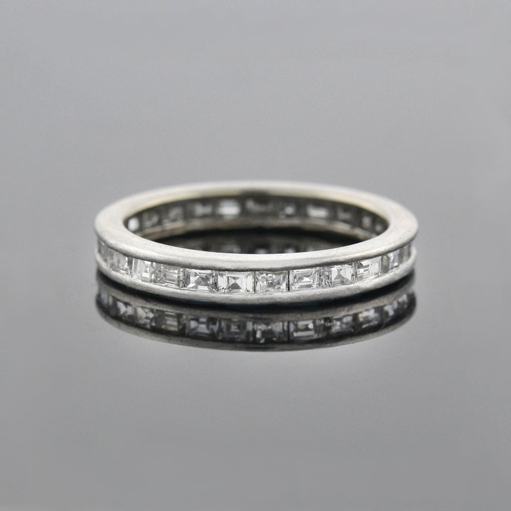 Art Deco French Platinum Old Step Cut Diamond Eternity Band 1.25ctw