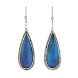 Art Deco Sterling Real Butterfly Wing Teardrop Earrings