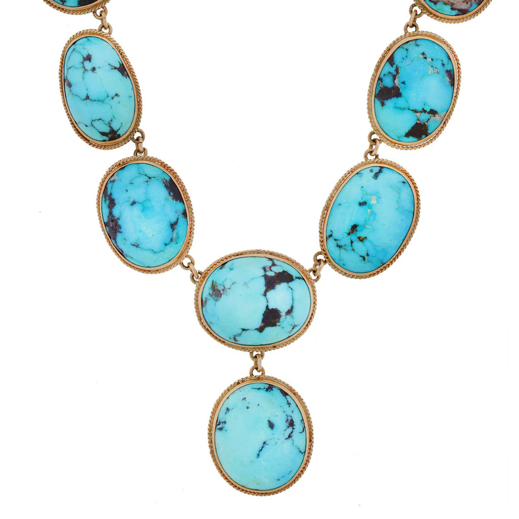 Edwardian 14kt Natural Turquoise Festoon Style Necklace 16.5""