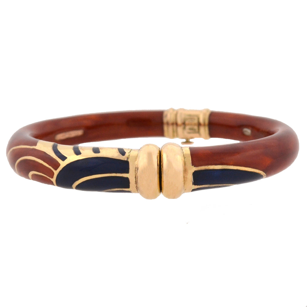 LA NOUVELLE BAGUE Estate 18kt/Sterling Burnt Sienna + Navy Blue Enamel Bracelet