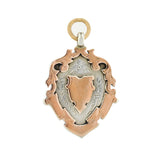 Edwardian English Sterling/9kt Rose Gold Medallion Shield Pendant