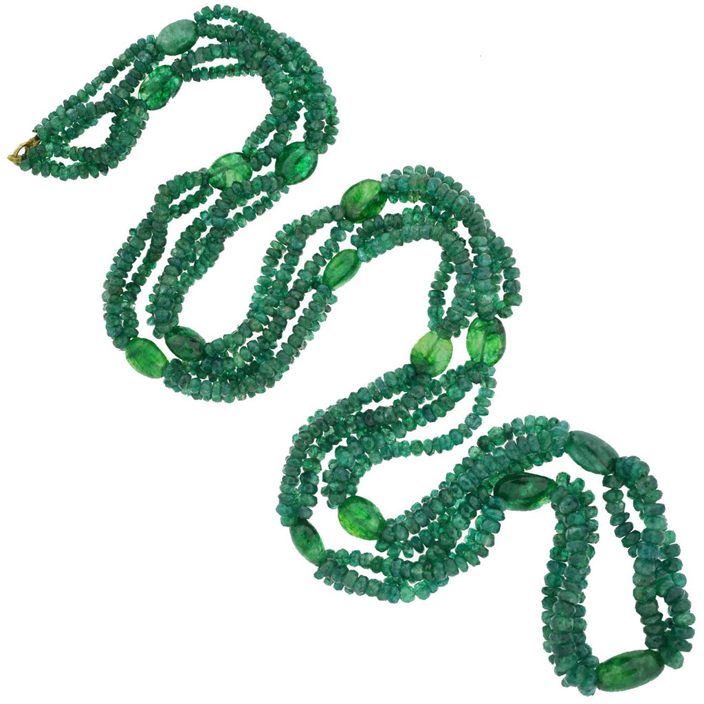 Estate Long Smooth + Faceted Emerald Bead Necklace 34""