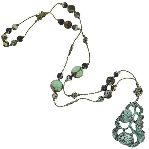 Art Deco Chinese Beaded Turquoise + Carved Pendant Necklace with Original Cord