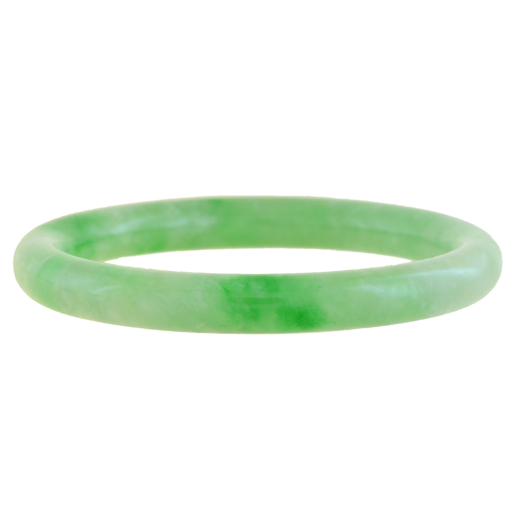 Estate Chinese Carved Jade Solid Slip-On Bangle Bracelet