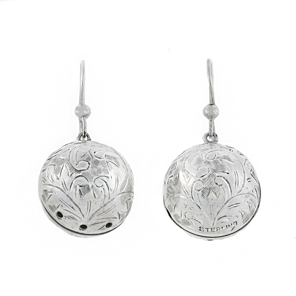Victorian Sterling Vinaigrette Etched Ball Earrings