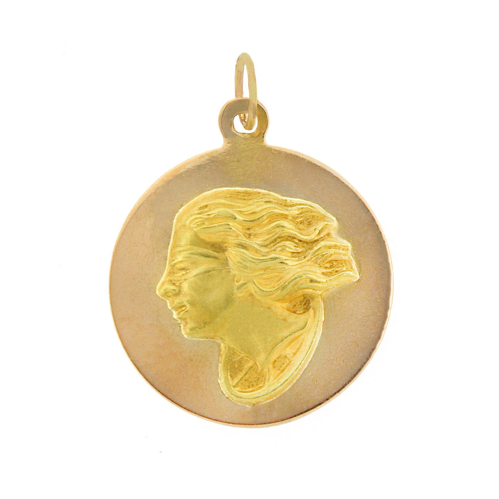 "Art Nouveau 18kt ""Fortuna, Goddess of Luck"" Pendant"