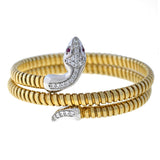 Retro Gold-Plated/Sterling Cubic Zirconia Flexible Snake Bracelet