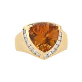 Estate 14kt Citrine + Diamond Ring 3.00ct center