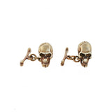 Estate Sterling Gilt Skull + Bones Cufflinks