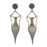Art Deco Long Sterling Silver Gilt Urn Earrings