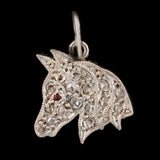 Late Art Deco Platinum Diamond + Ruby Horse Charm