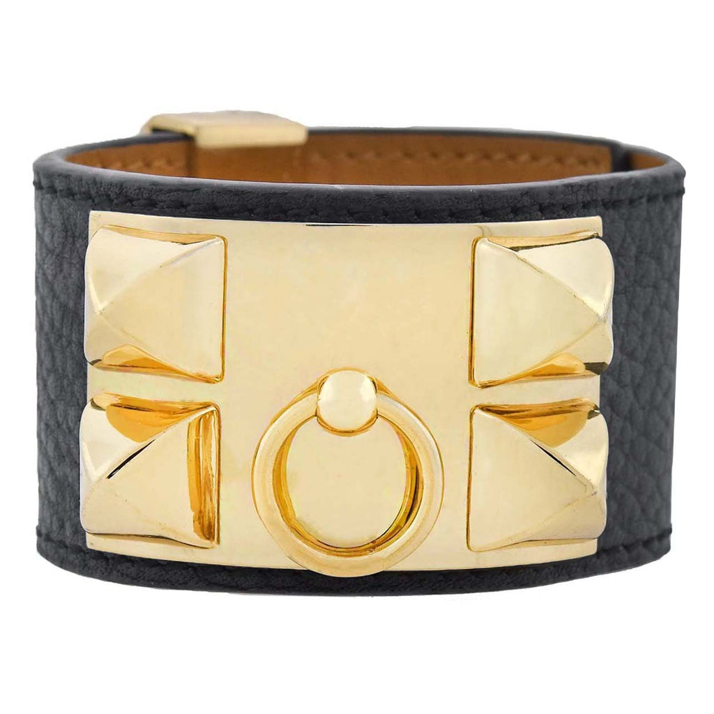 HERMES PARIS Estate Collier de Chien Gold Tone + Leather Adjustable Cuff Bracelet