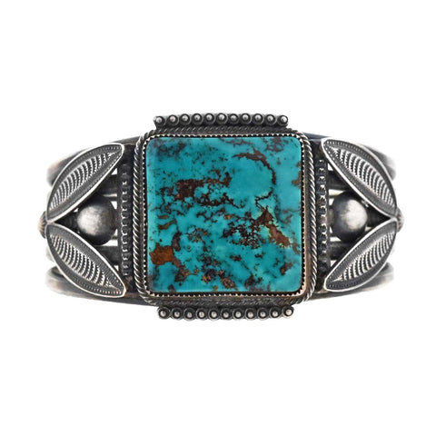 H. MORGAN Vintage Native American Sterling Turquoise Cuff Bracelet