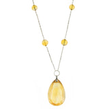 Art Deco Sterling Large Citrine Drop + Bead Necklace