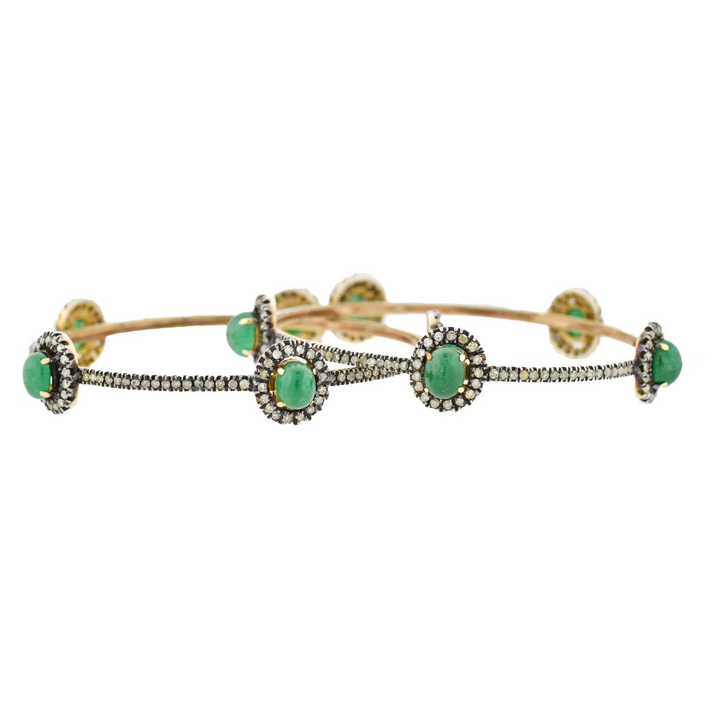 Victorian Style 14kt/Sterling Diamond + Emerald Bangle Bracelet Set