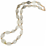 Estate Gold-Filled + Rutilated Quartz Crystal Bead Necklace 19.5