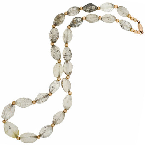 Estate Gold-Filled + Rutilated Quartz Crystal Bead Necklace 19.5""