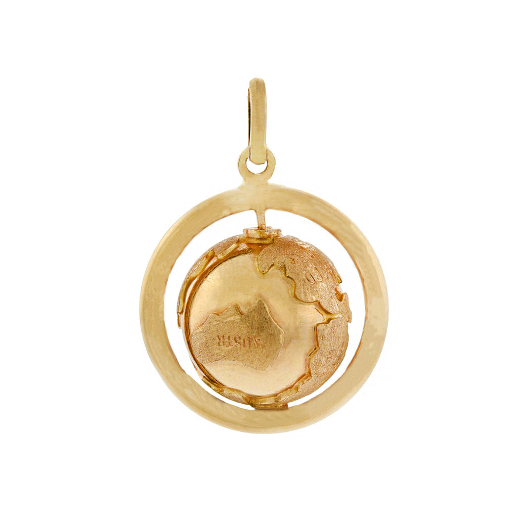 Estate 14kt Spinning Globe Pendant
