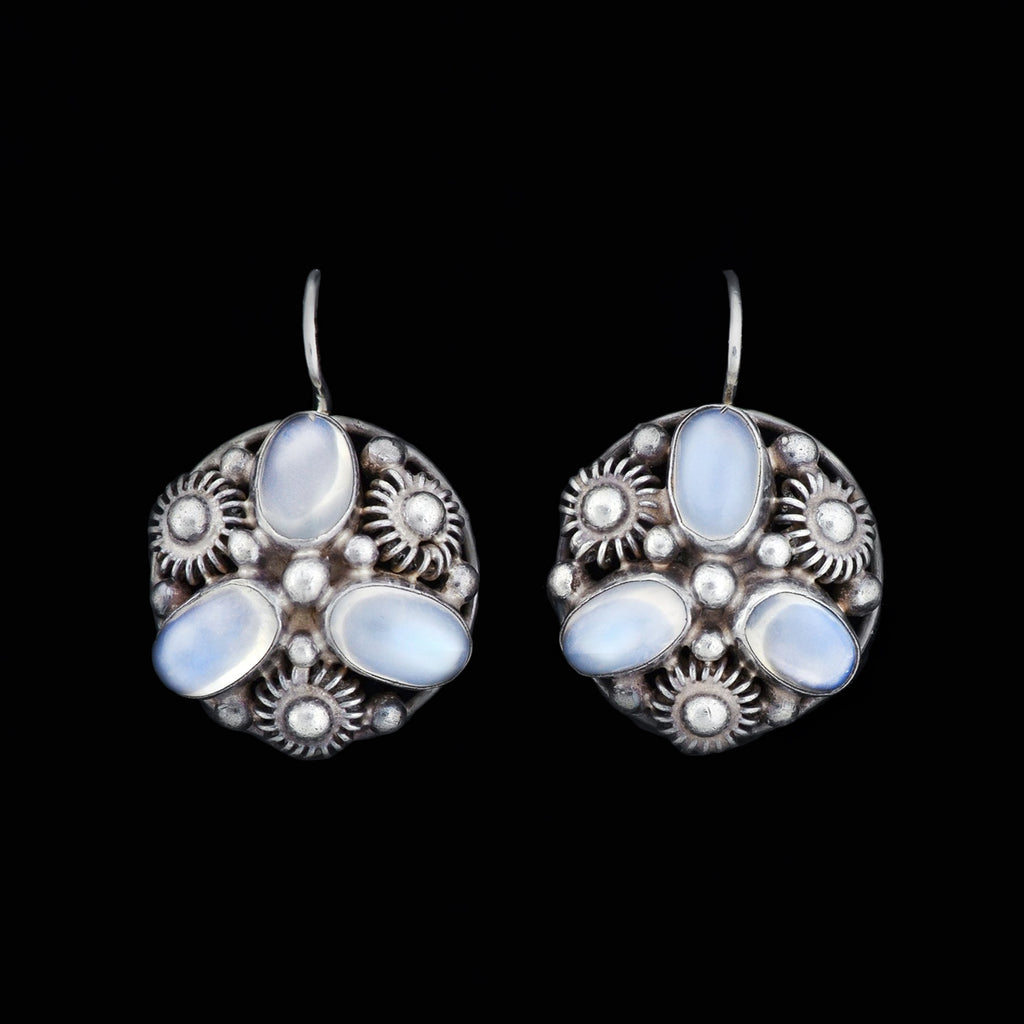 Art Deco Sterling Moonstone Beadwork Cluster Earrings